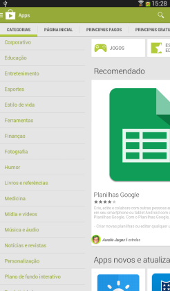 Encontre os aplicativos através das categorias de aplicativos do Google Play